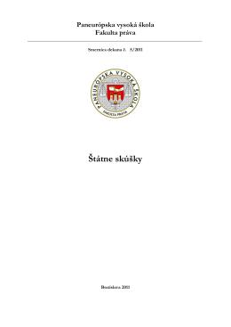 Štátne skúšky - Paneurópska vysoká škola