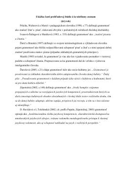 Ukážka časti prehľadovej štúdie à la telefónny zoznam