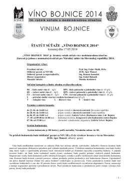 Víno Bojnice 2014 - štatút