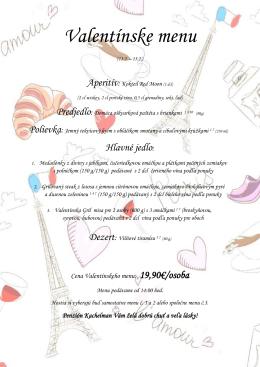Valentínske menu - Penzión Kachelman