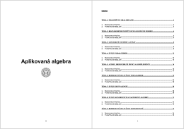 - Skriptá - Aplikovaná algebra
