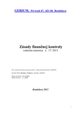 Zásady finančnej kontroly