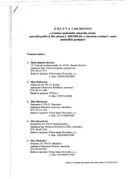 Z M L U V A č. 66112012/0VZ ozriadení spoločného