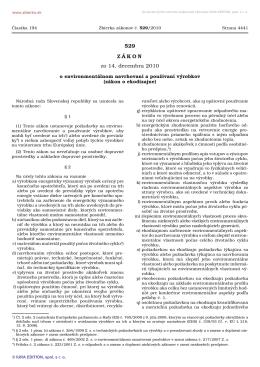 Zákon č. 529/2010 - Ministerstvo hospodárstva SR
