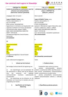 Uw contract met Lugera in Slowakije, voorbeeld