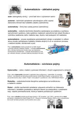 Automatizácia – základné pojmy Automatizácia – súvisiace