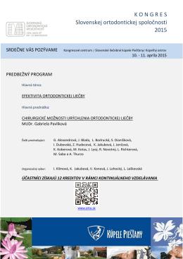 K O N G R E S  Slovenskej ortodontickej spoločnosti 2015