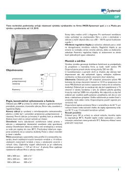 Popis, konstrukčné vyhotovenie a funkcia Montáž a údržba