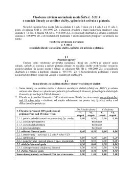 VZN č. 5/2014 o sumách úhrady za sociálne služby