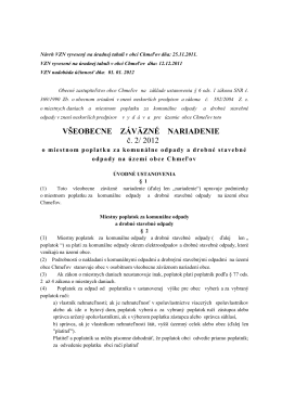 VZN č 2/2012 o miestnom poplatku za komunálne