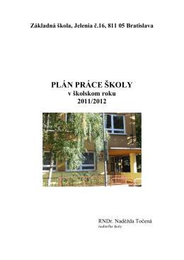 Hlavn lohy na rok 2011-2012 - Základná škola, Jelenia č. 16