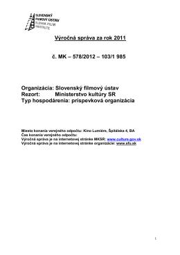 Výročná správa SFÚ 2011 - Slovenský filmový ústav
