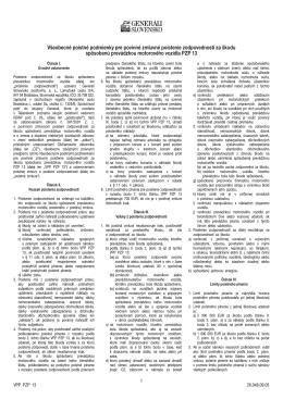 Všeobecné poistné podmienky pre povinné - V