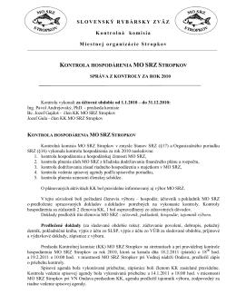 Správa Kontrolnej komisie MO SRZ za rok 20