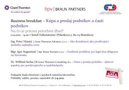 Business breakfast – Kúpa a predaj podnikov a častí podnikov
