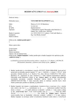 REZERVAČNÁ ZMLUVA č. číslo bytu/2014