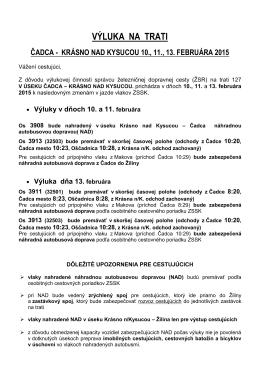 výluka na trati čadca - krásno nad kysucou 10., 11