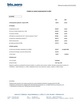 Platnosť cenníka od 01.03.2015 CENNÍK ZA CARGO