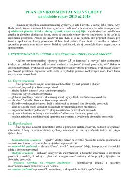 Plán environmentálnej výchovy 2013-2018