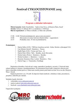 Festival CYKLOCESTOVANIE 2015 Program a základné informácie