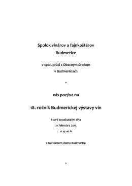 18. ročník Budmerickej výstavy vín