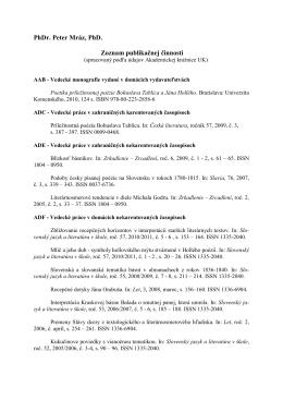 PhDr. Peter Mráz, PhD. Zoznam publikačnej činnosti
