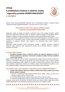 Výzva č. 01/2014 - Regionálny produkt Gemer