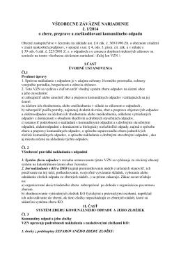 VŠEOBECNE ZÁVÄZNÉ NARIADENIE č. 1/2014 o