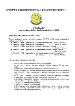 Článok - Gymnázium Pavla Horova
