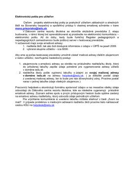 Všeobecná informácia pre riaditeľov škôl
