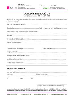Dotazník pre rodičov EKO tábor 2012