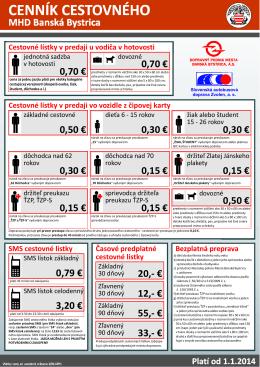 CENNÍK CESTOVNÉHO - Dopravný podnik mesta Banská Bystrica, as