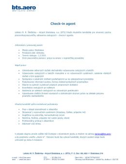 Check-in agent - Letisko Bratislava (BTS)