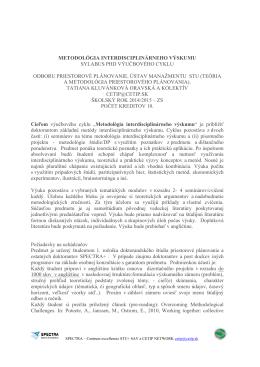 metodológia interdisciplinárneho výskumu sylabus phd