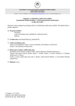 Zápisnica z celoškolskej rodičovskej schôdze Gymnázium Zoltána