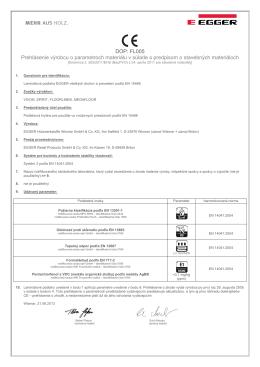 DOP: FL005 Prehlásenie výrobcu o parametroch materiálu