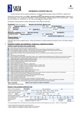 SOZA- Hromadná licenčná zmluva- bez vstupného