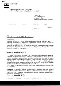 Požiadavka č. a 6/5/2012 - vo veci jednosmernej
