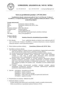 Výzva - čistiace prostriedky 297-04-2014
