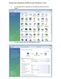 Nastavenie pripojenia WiMAX pod Windows Vista