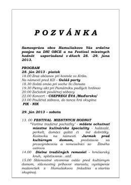 Pozvánka - Hamuliakovo
