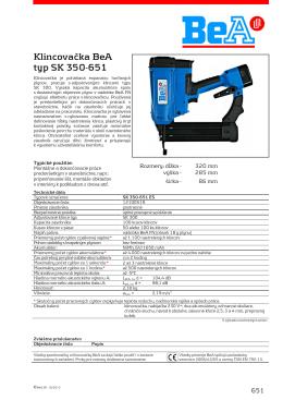 Klincovačka BeA typ SK 350-651