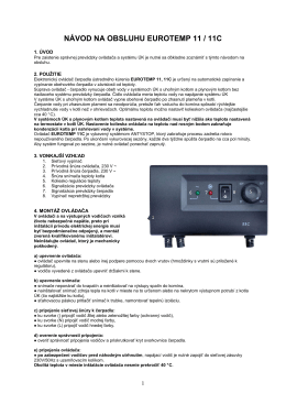 Návod k termostatu TC 11, 11C