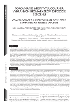 porovnanie miery vylučovania vybraných biomarkerov expozície