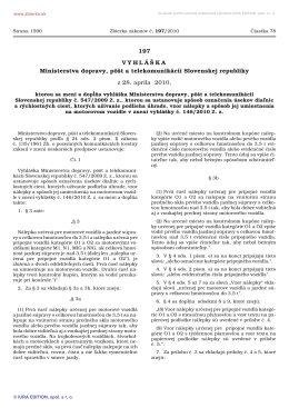197/2010 Vyhláška Ministerstva dopravy, pôšt a