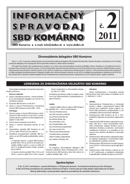 Spravodaj 2011 / 02 - Stavebné bytové družstvo Komárno