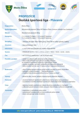 Školská športová liga - Plávanie - Mesto Žilina