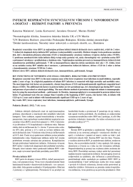 infekcie respiračným syncyciálnym vírusom u