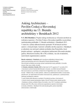 Asking Architecture – Pavilón Českej a Slovenskej republiky
