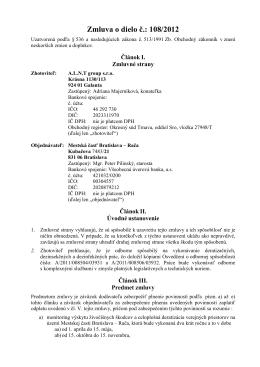 Zmluva o dielo č.: 108/2012